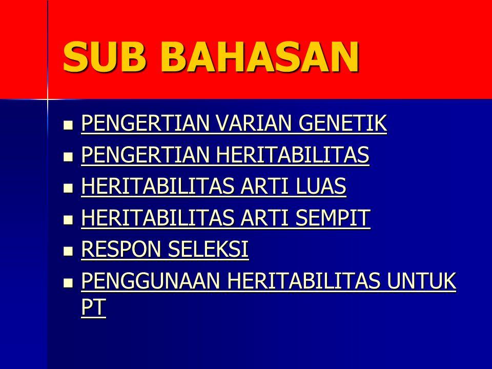 SUB BAHASAN PENGERTIAN VARIAN GENETIK PENGERTIAN VARIAN GENETIK PENGERTIAN VARIAN GENETIK PENGERTIAN VARIAN GENETIK PENGERTIAN HERITABILITAS PENGERTIAN HERITABILITAS PENGERTIAN HERITABILITAS PENGERTIAN HERITABILITAS HERITABILITAS ARTI LUAS HERITABILITAS ARTI LUAS HERITABILITAS ARTI LUAS HERITABILITAS ARTI LUAS HERITABILITAS ARTI SEMPIT HERITABILITAS ARTI SEMPIT HERITABILITAS ARTI SEMPIT HERITABILITAS ARTI SEMPIT RESPON SELEKSI RESPON SELEKSI RESPON SELEKSI RESPON SELEKSI PENGGUNAAN HERITABILITAS UNTUK PT PENGGUNAAN HERITABILITAS UNTUK PT PENGGUNAAN HERITABILITAS UNTUK PT PENGGUNAAN HERITABILITAS UNTUK PT