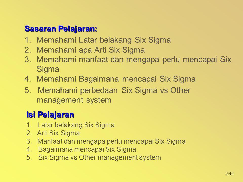 2/46 Isi Pelajaran 1. Latar belakang Six Sigma 2. Arti Six Sigma 3. Manfaat dan mengapa perlu mencapai Six Sigma 4. 4.Bagaimana mencapai Six Sigma 5.