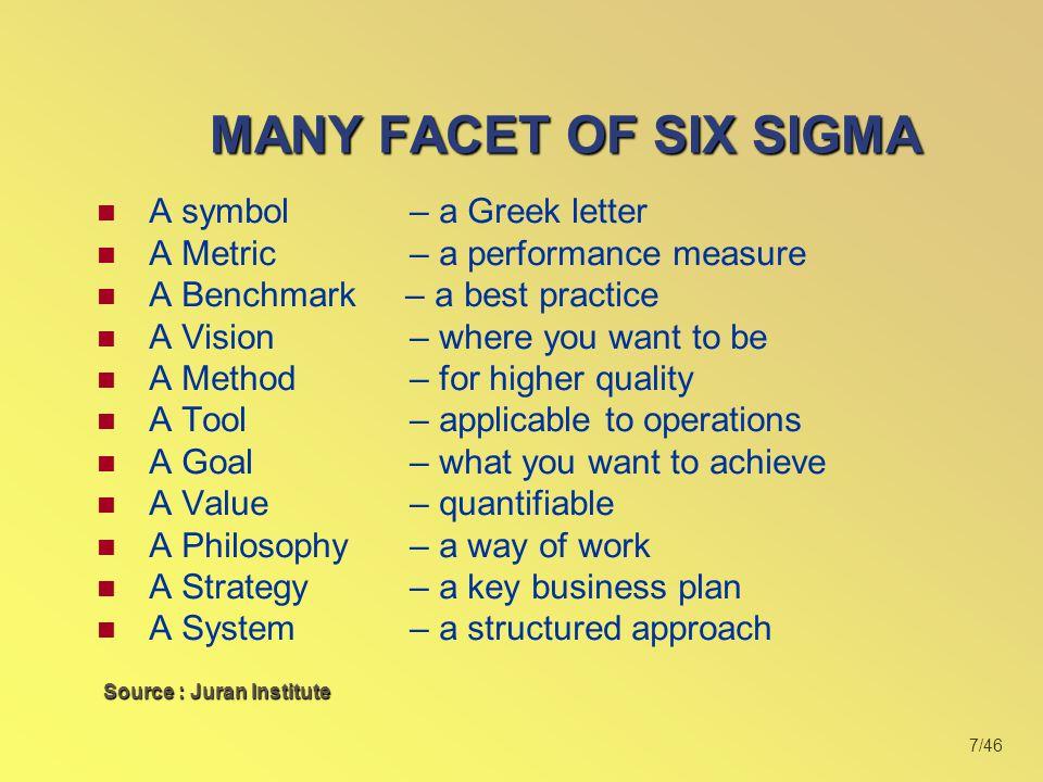 8/46 Six Sigma Quality adalah tingkat mutu dimana hanya 3.4 defect dihasilkan dari 1.000.000 peluang terjadinya defect (3.4 defect per million opportunities/DPMO)Six Sigma Quality adalah tingkat mutu dimana hanya 3.4 defect dihasilkan dari 1.000.000 peluang terjadinya defect (3.4 defect per million opportunities/DPMO)  6  = 3.4 defect Million Opportunities MANY FACET OF SIX SIGMA A METRIC