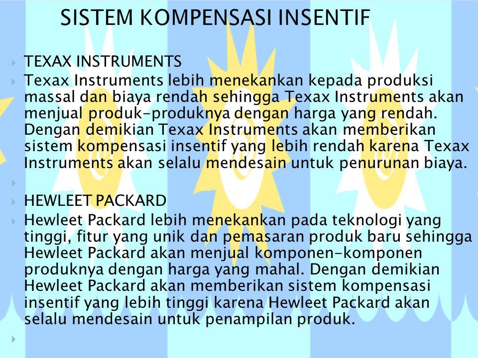  TEXAX INSTRUMENTS  Texax Instruments lebih menekankan kepada produksi massal dan biaya rendah sehingga Texax Instruments akan menjual produk-produknya dengan harga yang rendah.