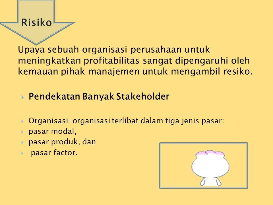 Risiko Upaya sebuah organisasi perusahaan untuk meningkatkan profitabilitas sangat dipengaruhi oleh kemauan pihak manajemen untuk mengambil resiko.