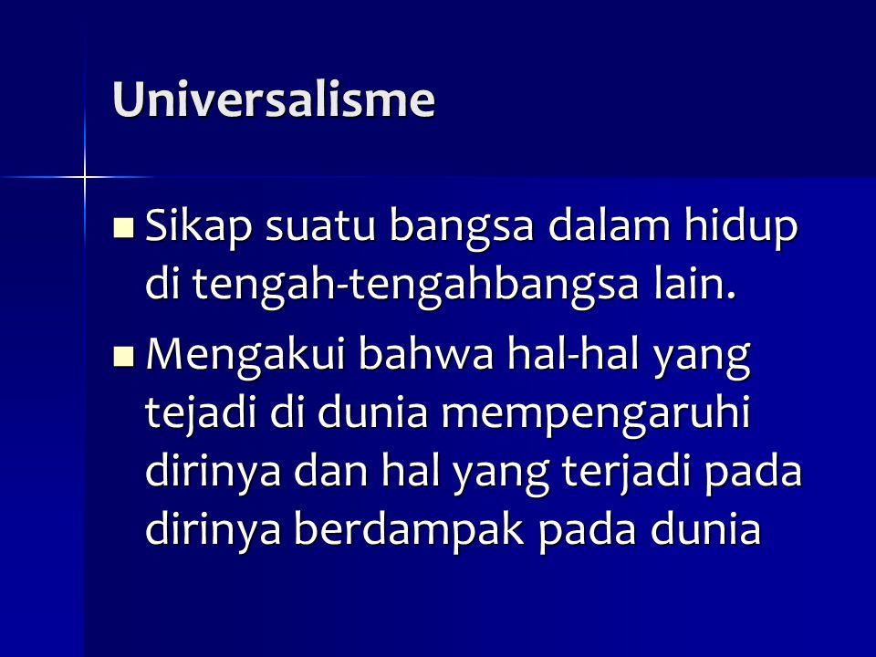 Universalisme Sikap suatu bangsa dalam hidup di tengah-tengahbangsa lain. Sikap suatu bangsa dalam hidup di tengah-tengahbangsa lain. Mengakui bahwa h
