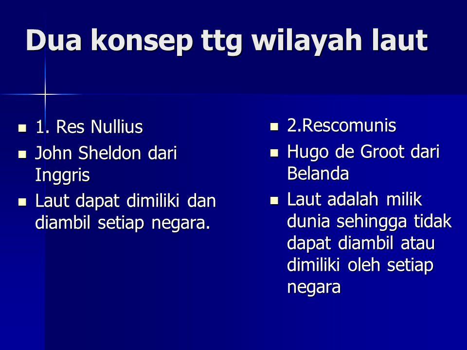 Dua konsep ttg wilayah laut 1.Res Nullius 1.