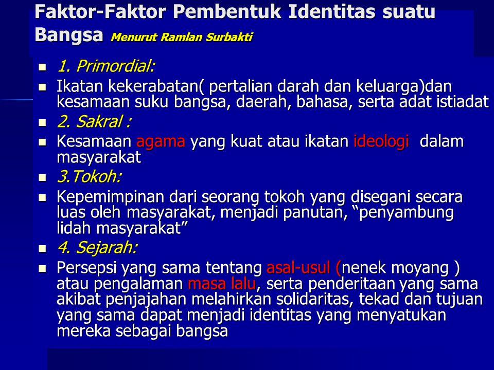 Faktor-Faktor Pembentuk Identitas suatu Bangsa Menurut Ramlan Surbakti 1. Primordial: 1. Primordial: Ikatan kekerabatan( pertalian darah dan keluarga)