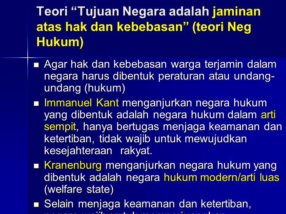 "Teori ""Tujuan Negara adalah jaminan atas hak dan kebebasan"" (teori Neg Hukum) Agar hak dan kebebasan warga terjamin dalam negara harus dibentuk peratu"