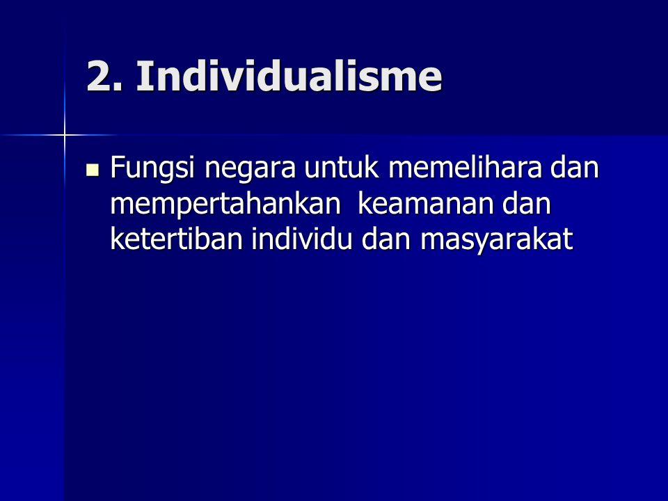 2. Individualisme Fungsi negara untuk memelihara dan mempertahankan keamanan dan ketertiban individu dan masyarakat Fungsi negara untuk memelihara dan