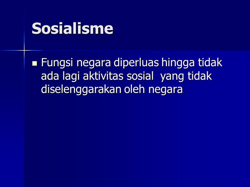 Sosialisme Fungsi negara diperluas hingga tidak ada lagi aktivitas sosial yang tidak diselenggarakan oleh negara Fungsi negara diperluas hingga tidak ada lagi aktivitas sosial yang tidak diselenggarakan oleh negara