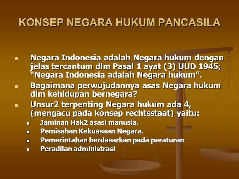 """KONSEP NEGARA HUKUM PANCASILA Negara Indonesia adalah Negara hukum dengan jelas tercantum dlm Pasal 1 ayat (3) UUD 1945; """"Negara Indonesia adalah Nega"""