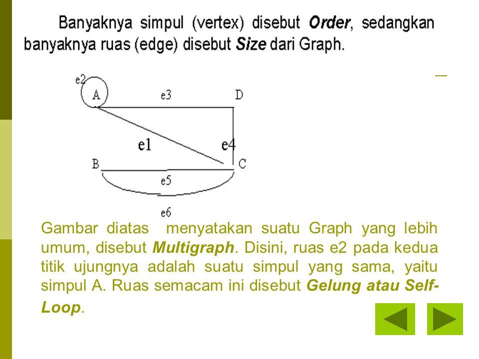 Sedangkan ruas e5 dan e6 mempunyai titik ujung yang sama, yaitu simpul-simpul B dan C.