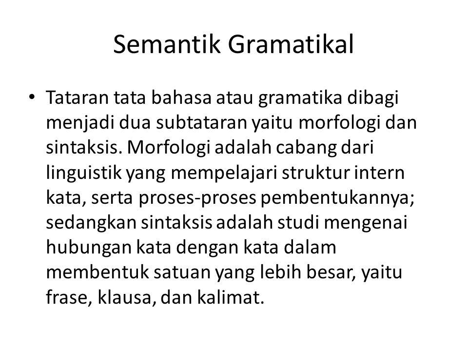 Semantik Gramatikal Tataran tata bahasa atau gramatika dibagi menjadi dua subtataran yaitu morfologi dan sintaksis.