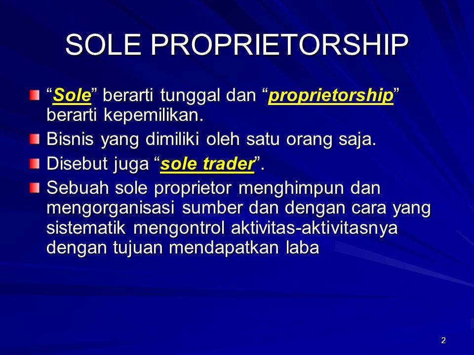 3 KARAKTERISTIK SOLE PROPRIETORSHIP 1.Pemilikan tunggal.