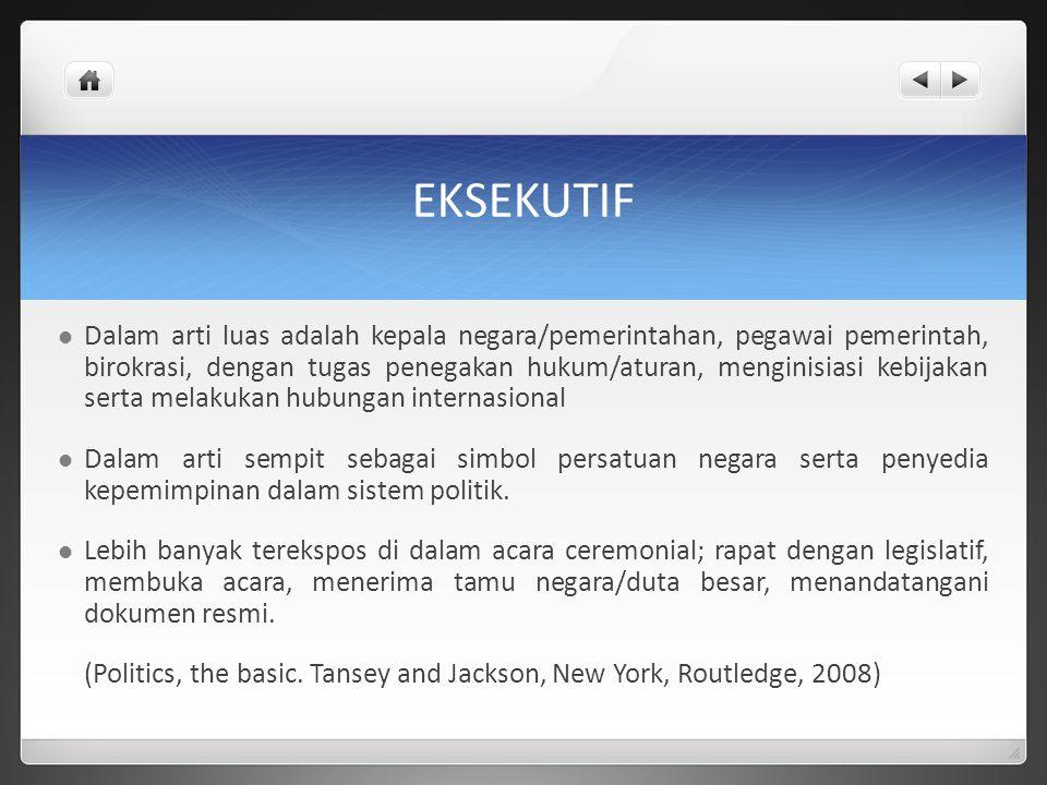 EKSEKUTIF Dalam arti luas adalah kepala negara/pemerintahan, pegawai pemerintah, birokrasi, dengan tugas penegakan hukum/aturan, menginisiasi kebijaka