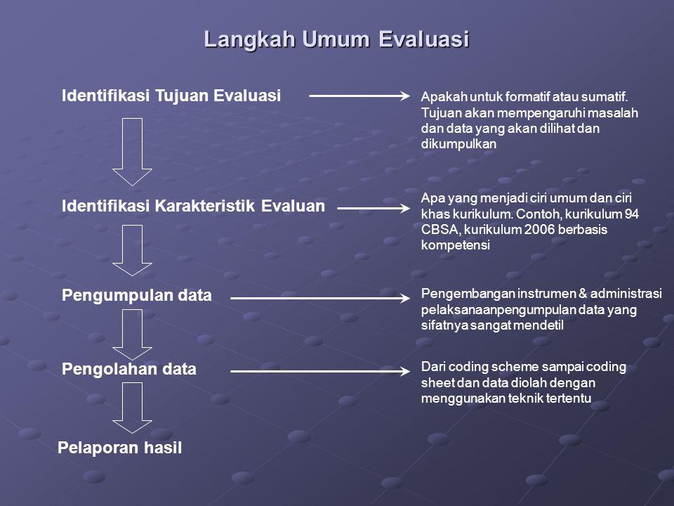 Langkah Umum Evaluasi Identifikasi Tujuan Evaluasi Identifikasi Karakteristik Evaluan Pengumpulan data Pengolahan data Pelaporan hasil Apakah untuk formatif atau sumatif.