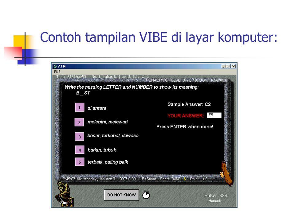 Contoh tampilan VIBE di layar komputer: