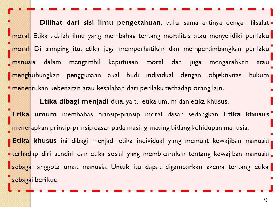 Etika Umum Etika Individual Etika Khusus Etika Sosial Diperjelas dengan uraian sebagai berikut : Etika Sesama Etika Keluarga Etika Profesi Etika Politik Etika Masyarakat Etika Idiologi BIOMEDIS HUKUM PENGETAHUAN DLL 10 Etika
