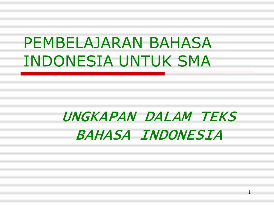 1 PEMBELAJARAN BAHASA INDONESIA UNTUK SMA UNGKAPAN DALAM TEKS BAHASA INDONESIA