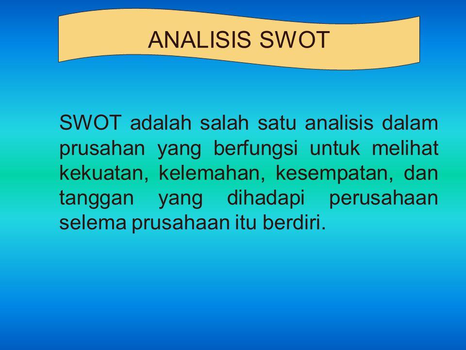 SWOT adalah salah satu analisis dalam prusahan yang berfungsi untuk melihat kekuatan, kelemahan, kesempatan, dan tanggan yang dihadapi perusahaan sele