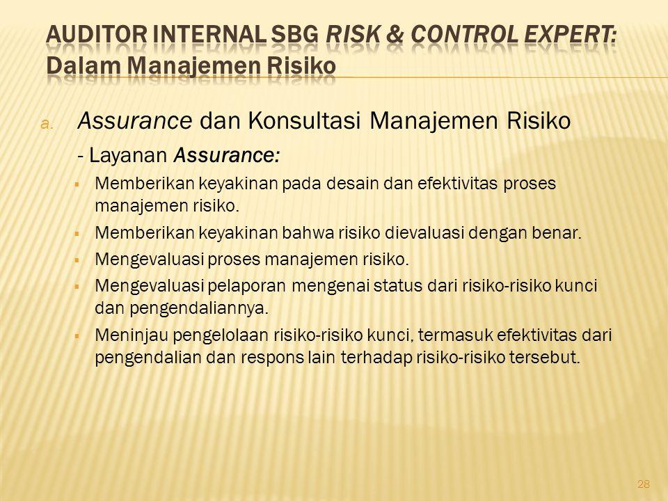 a. Assurance dan Konsultasi Manajemen Risiko - Layanan Assurance:  Memberikan keyakinan pada desain dan efektivitas proses manajemen risiko.  Member
