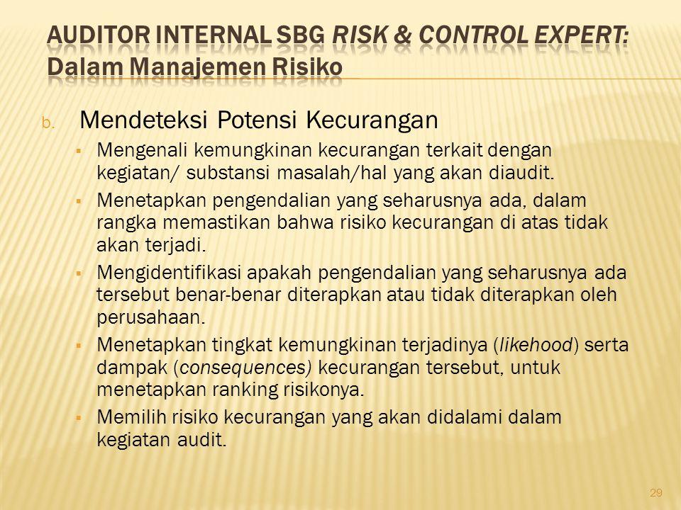 b. Mendeteksi Potensi Kecurangan  Mengenali kemungkinan kecurangan terkait dengan kegiatan/ substansi masalah/hal yang akan diaudit.  Menetapkan pen