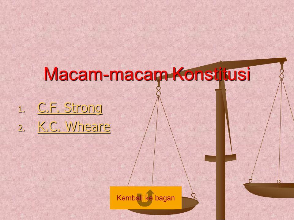 Macam-macam Konstitusi 1. C.F. Strong C.F. Strong C.F. Strong 2. K.C. Wheare K.C. Wheare K.C. Wheare Kembali ke bagan