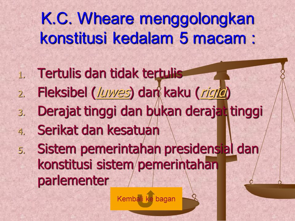 K.C. Wheare menggolongkan konstitusi kedalam 5 macam : 1. Tertulis dan tidak tertulis 2. Fleksibel (luwes) dan kaku (rigid) luwesrigidluwesrigid 3. De