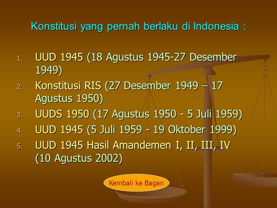 Konstitusi yang pernah berlaku di Indonesia : 1. UUD 1945 (18 Agustus 1945-27 Desember 1949) 2. Konstitusi RIS (27 Desember 1949 – 17 Agustus 1950) 3.