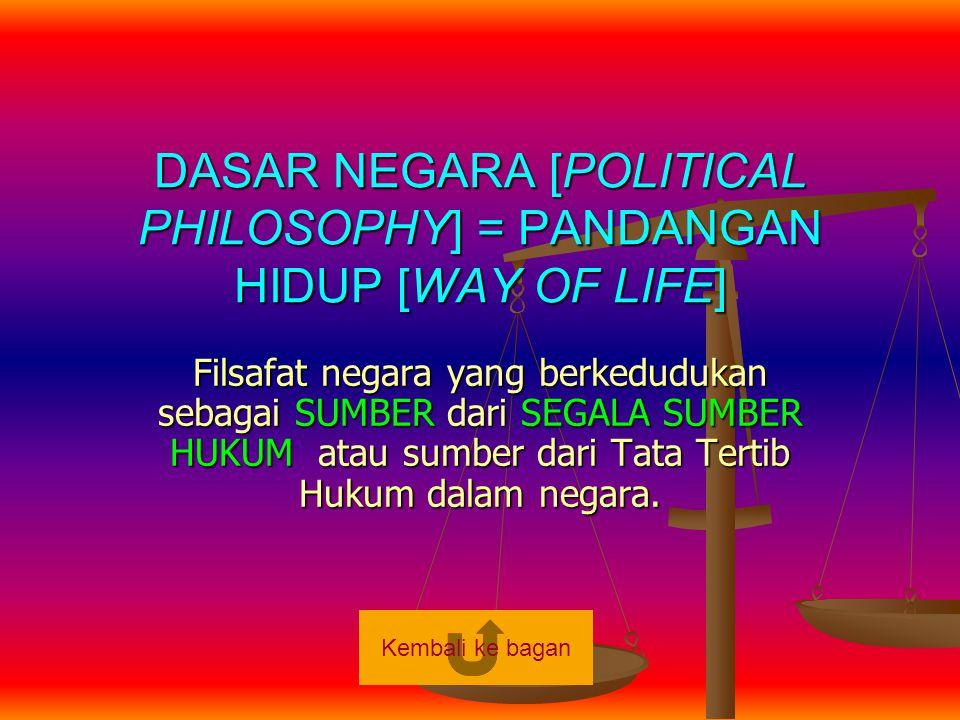 DASAR NEGARA [POLITICAL PHILOSOPHY] = PANDANGAN HIDUP [WAY OF LIFE] Filsafat negara yang berkedudukan sebagai SUMBER dari SEGALA SUMBER HUKUM atau sum