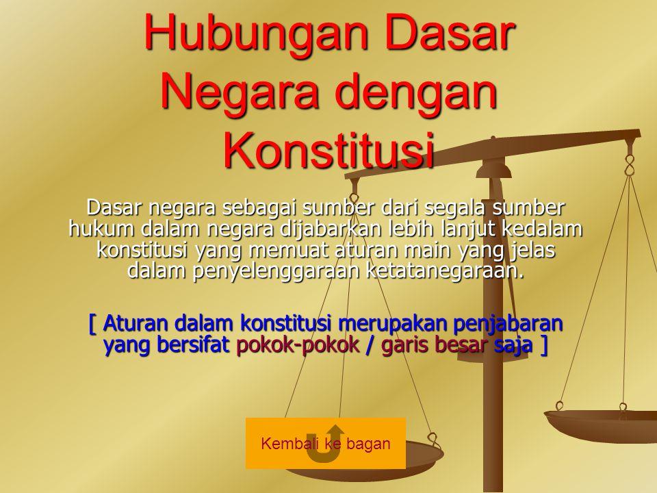 Hubungan Dasar Negara dengan Konstitusi Dasar negara sebagai sumber dari segala sumber hukum dalam negara dijabarkan lebih lanjut kedalam konstitusi y