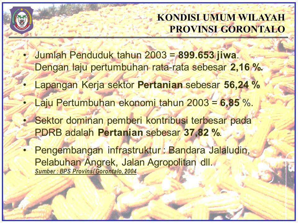 KONDISI UMUM WILAYAH PROVINSI GORONTALO Jumlah Penduduk tahun 2003 = 899.653 jiwa.