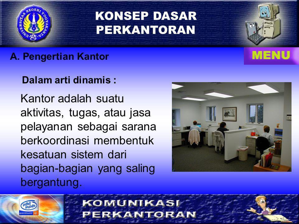 A. Pengertian Kantor Kantor adalah suatu aktivitas, tugas, atau jasa pelayanan sebagai sarana berkoordinasi membentuk kesatuan sistem dari bagian-bagi