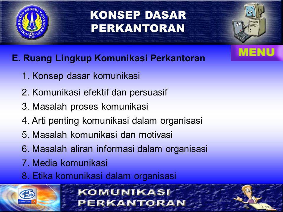 KONSEP DASAR PERKANTORAN E.Ruang Lingkup Komunikasi Perkantoran 1.