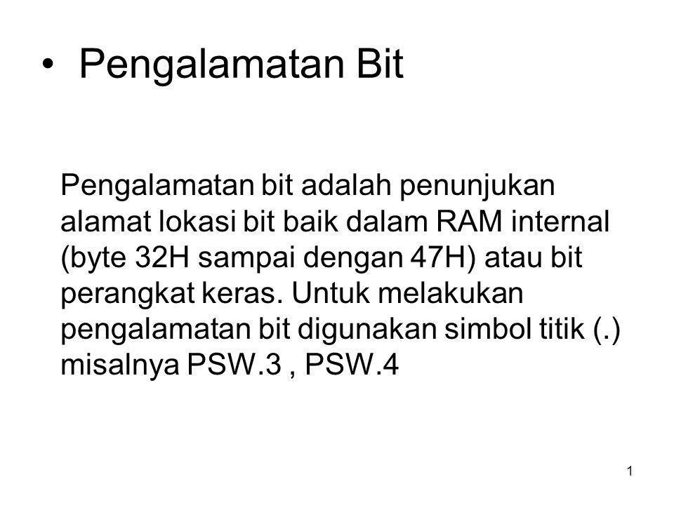 1 Pengalamatan Bit Pengalamatan bit adalah penunjukan alamat lokasi bit baik dalam RAM internal (byte 32H sampai dengan 47H) atau bit perangkat keras.