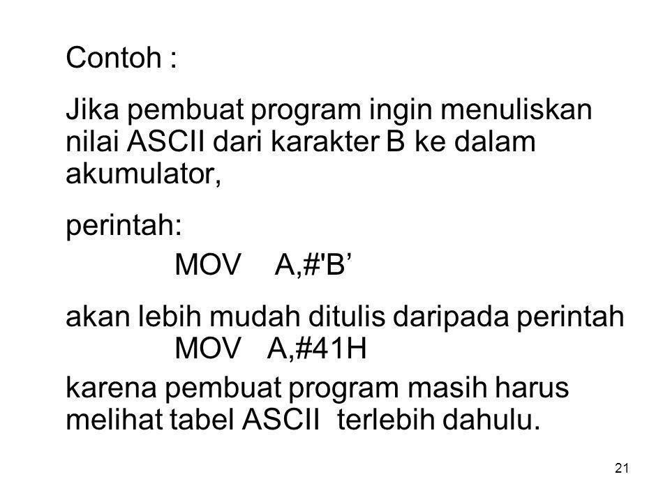 21 Contoh : Jika pembuat program ingin menuliskan nilai ASCII dari karakter B ke dalam akumulator, perintah: MOV A,# B' akan lebih mudah ditulis daripada perintah MOV A,#41H karena pembuat program masih harus melihat tabel ASCII terlebih dahulu.