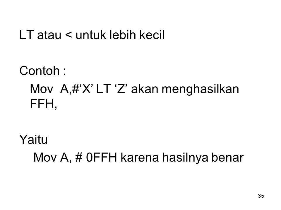 35 LT atau <untuk lebih kecil Contoh : Mov A,#'X' LT 'Z' akan menghasilkan FFH, Yaitu Mov A, # 0FFH karena hasilnya benar