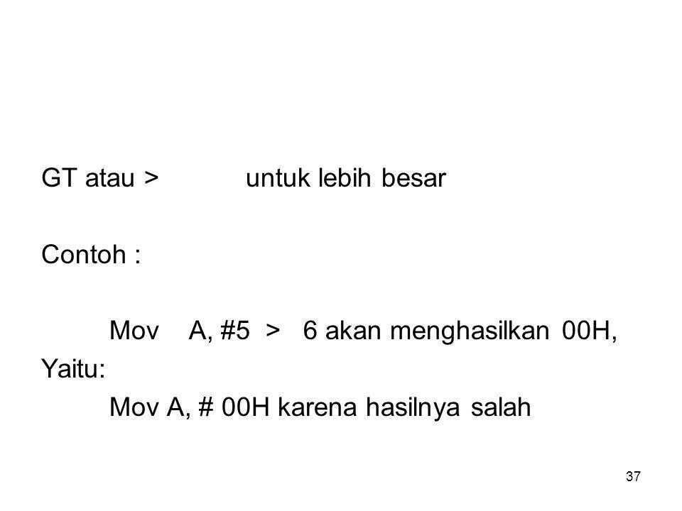 37 GT atau >untuk lebih besar Contoh : Mov A, #5 > 6 akan menghasilkan 00H, Yaitu: Mov A, # 00H karena hasilnya salah