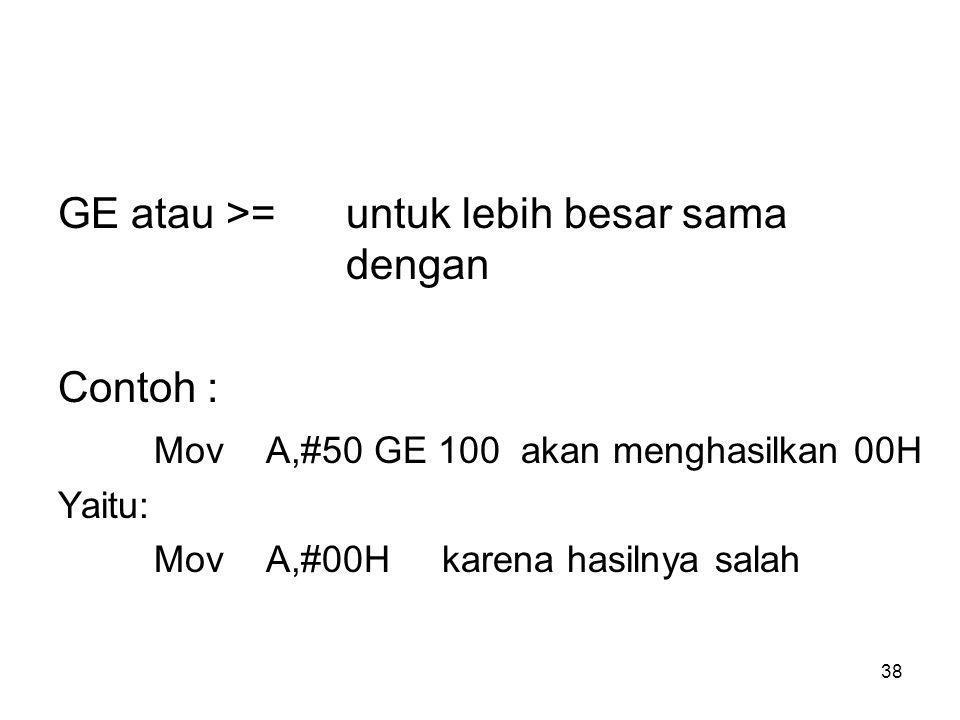 38 GE atau >=untuk lebih besar sama dengan Contoh : Mov A,#50 GE 100 akan menghasilkan 00H Yaitu: Mov A,#00H karena hasilnya salah