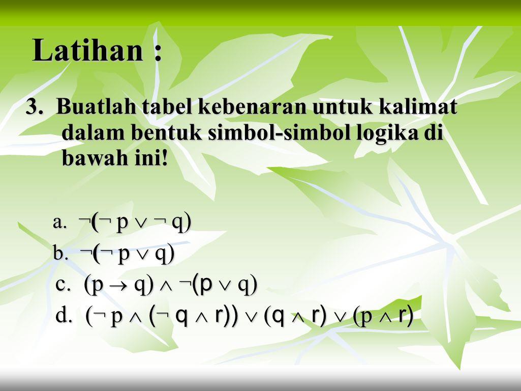 Latihan 2. Tentukan nilai kebenaran dari setiap pernyataan berikut : berikut : a. Jika 9 < 4, maka – 4 < – 9. a. Jika 9 < 4, maka – 4 < – 9. b. 1 + 1