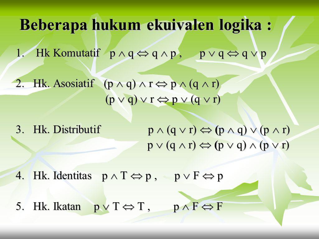 Latihan : Tentukan apakah pasangan kalimat- kalimat dibawah ini ekuivalen : Tentukan apakah pasangan kalimat- kalimat dibawah ini ekuivalen : a. ¬(¬ p