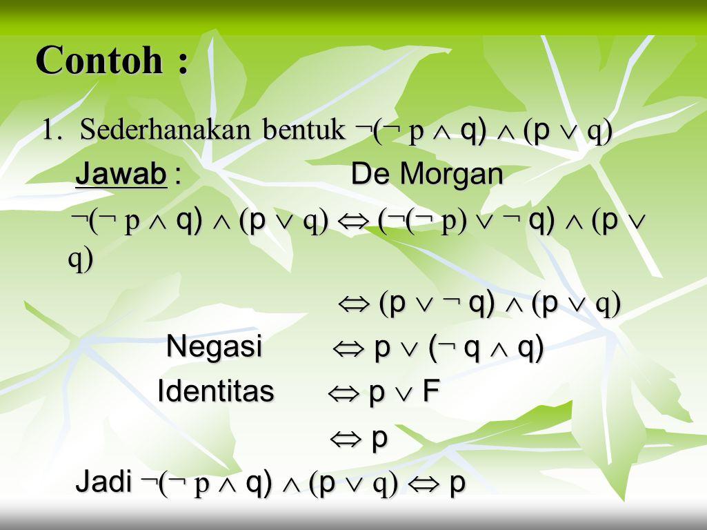 6. Hk. Negasi p  ¬ p  T, p  ¬ p  F 7. Hk. Negasi Ganda ¬(¬ p )  p 8. Hk. Indempoten p  p  p, p  p  p 9. Hk. De Morgan ¬(p  q)  ¬ p  ¬ q, ¬
