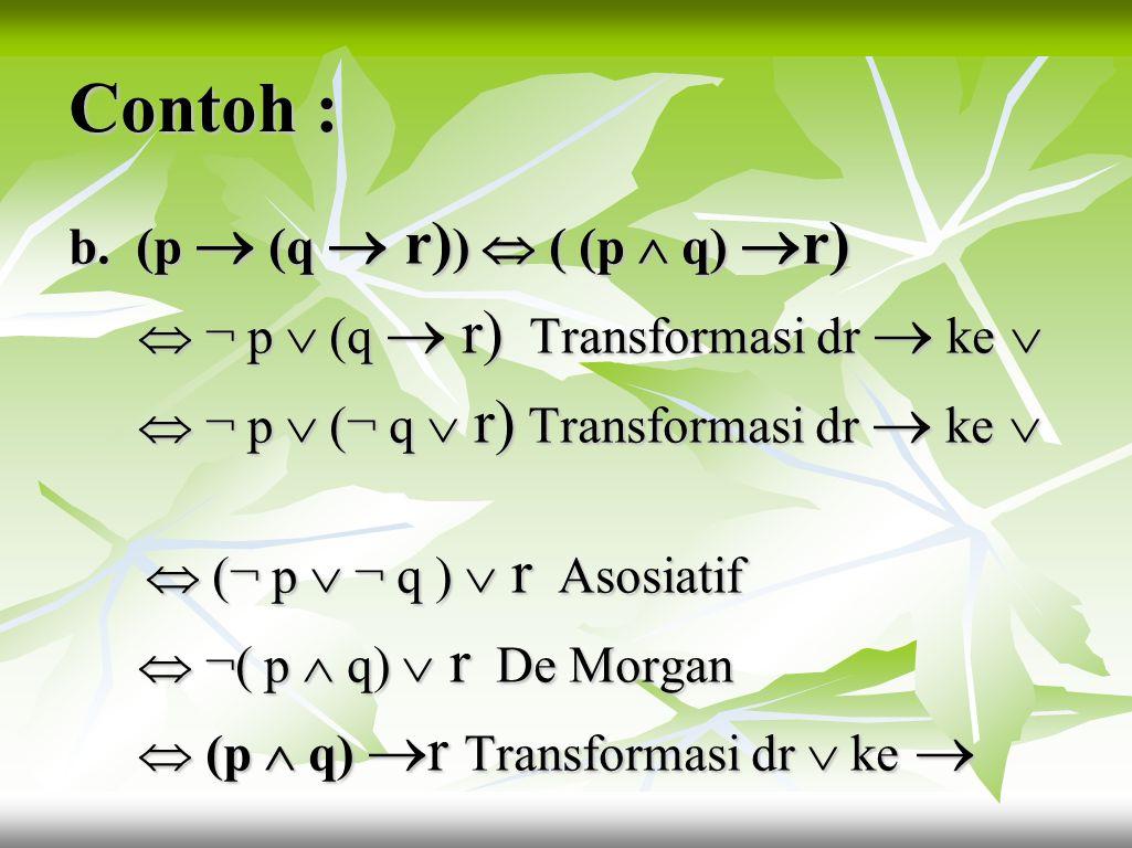 Contoh : 2. Buktikan ekuivalensi kalimat di bawah ini tanpa menggunakan tabel kebenaran! menggunakan tabel kebenaran! a. ¬(p  ¬ q)  (¬ p  ¬ q )  ¬