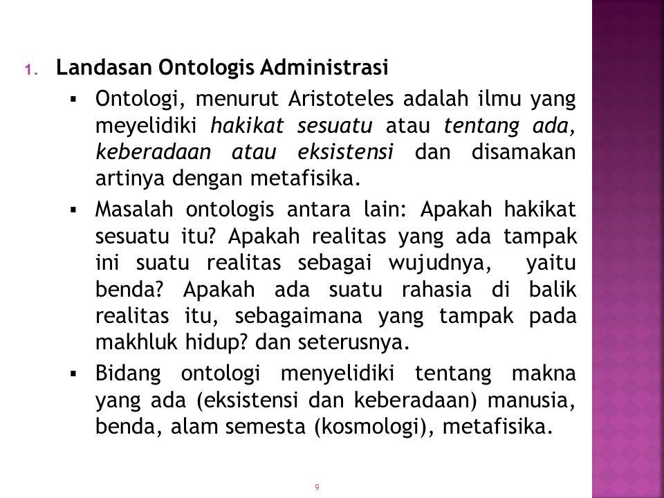 10  Secara ontologis, penyelidikan Administrasi sebagai filsafat dimaksudkan sebagai upaya untuk mengetahui hakikat dasar dari unsur-unsur Administrasi.