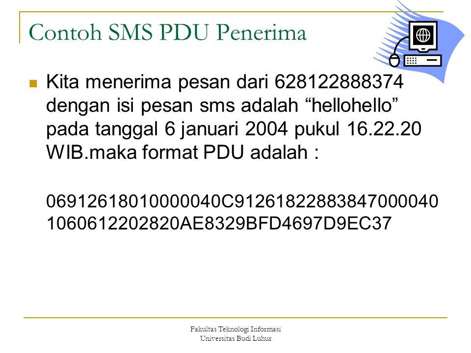 """Fakultas Teknologi Informasi Universitas Budi Luhur Contoh SMS PDU Penerima Kita menerima pesan dari 628122888374 dengan isi pesan sms adalah """"hellohe"""
