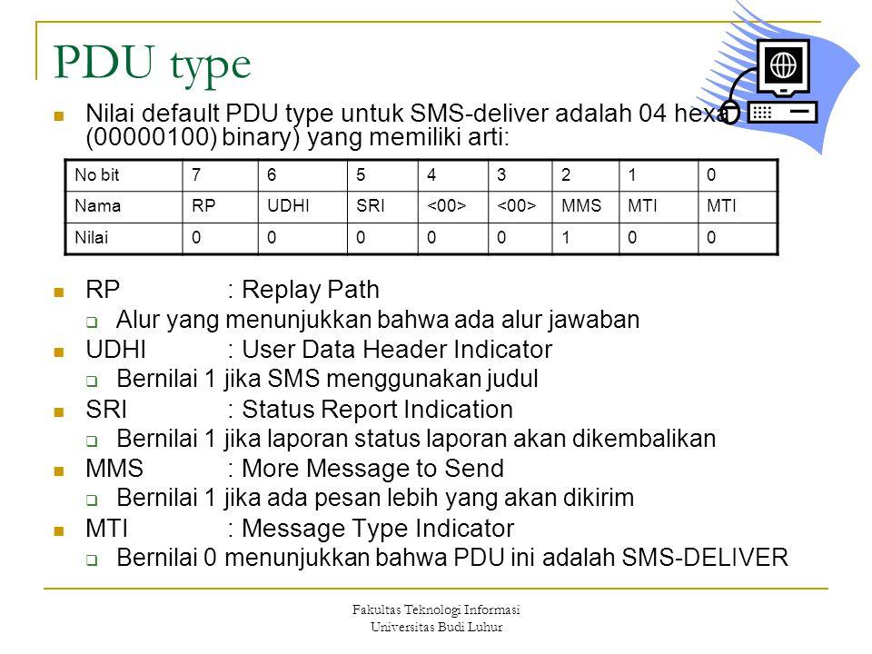 Fakultas Teknologi Informasi Universitas Budi Luhur PDU type Nilai default PDU type untuk SMS-deliver adalah 04 hexa (00000100) binary) yang memiliki