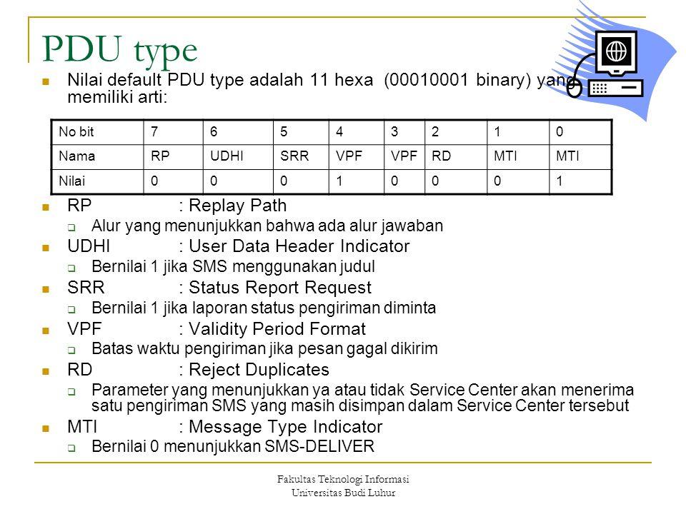 Fakultas Teknologi Informasi Universitas Budi Luhur PDU type Nilai default PDU type adalah 11 hexa (00010001 binary) yang memiliki arti: RP: Replay Pa