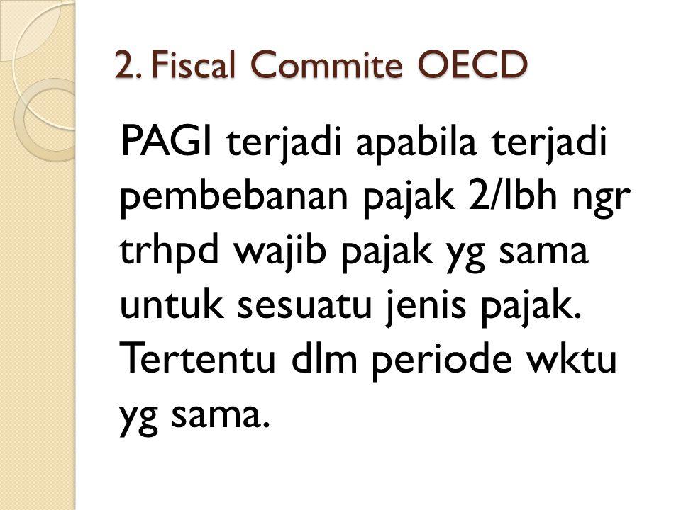 2. Fiscal Commite OECD PAGI terjadi apabila terjadi pembebanan pajak 2/lbh ngr trhpd wajib pajak yg sama untuk sesuatu jenis pajak. Tertentu dlm perio