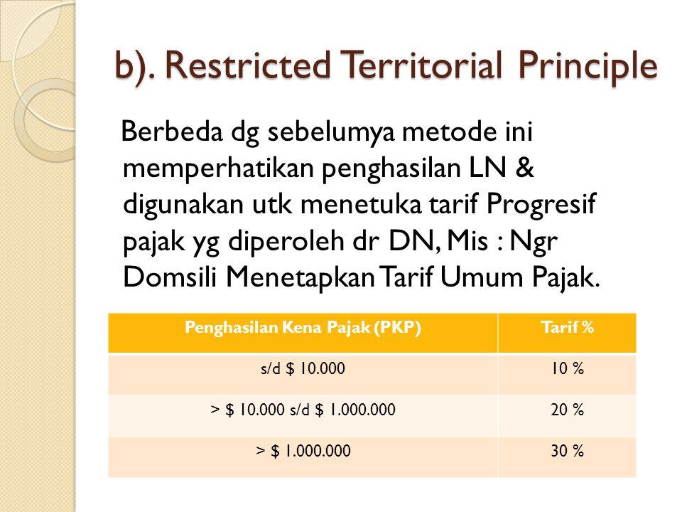 b). Restricted Territorial Principle Berbeda dg sebelumya metode ini memperhatikan penghasilan LN & digunakan utk menetuka tarif Progresif pajak yg di