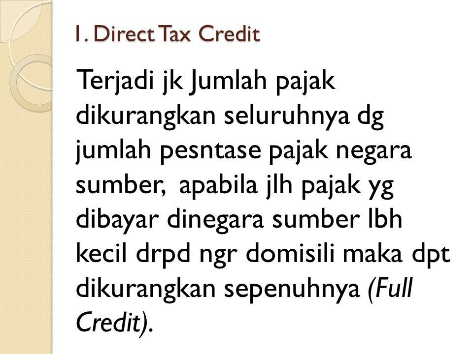 1. Direct Tax Credit Terjadi jk Jumlah pajak dikurangkan seluruhnya dg jumlah pesntase pajak negara sumber, apabila jlh pajak yg dibayar dinegara sumb