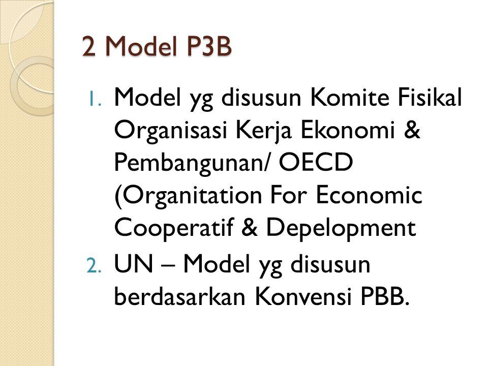 2 Model P3B 1. Model yg disusun Komite Fisikal Organisasi Kerja Ekonomi & Pembangunan/ OECD (Organitation For Economic Cooperatif & Depelopment 2. UN