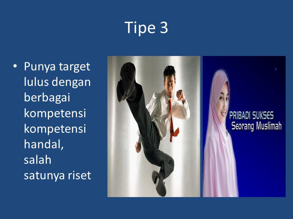 Tipe 3 Punya target lulus dengan berbagai kompetensi kompetensi handal, salah satunya riset