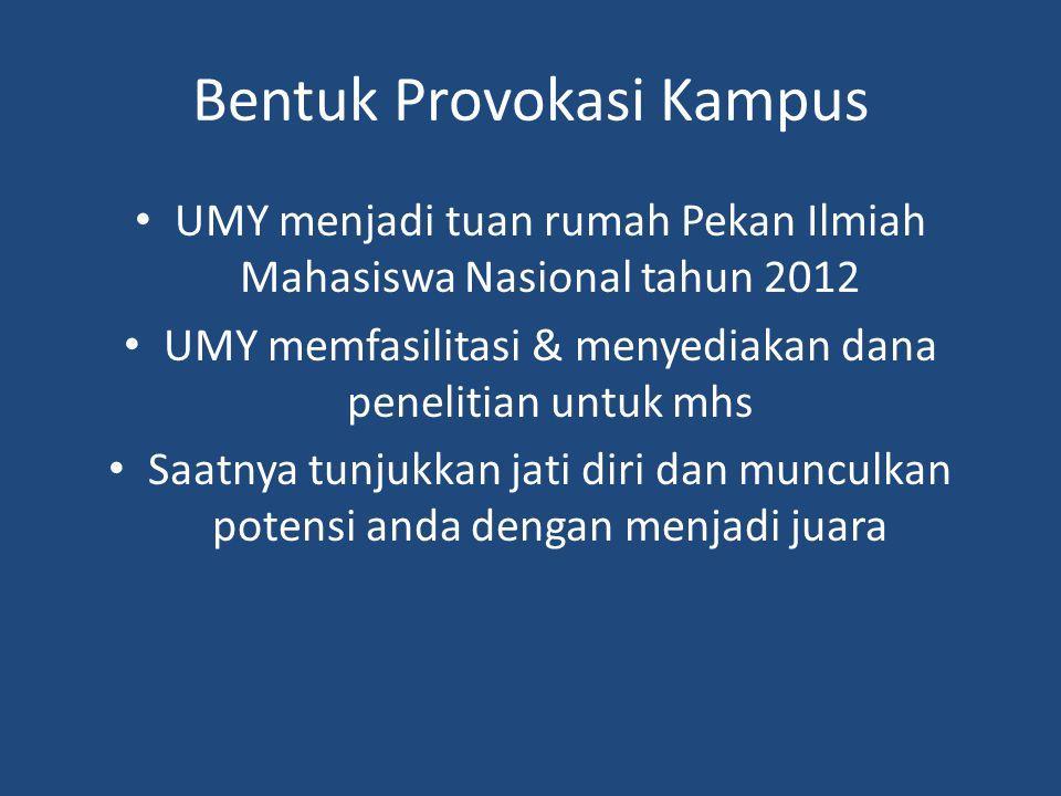 Bentuk Provokasi Kampus UMY menjadi tuan rumah Pekan Ilmiah Mahasiswa Nasional tahun 2012 UMY memfasilitasi & menyediakan dana penelitian untuk mhs Saatnya tunjukkan jati diri dan munculkan potensi anda dengan menjadi juara